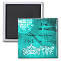 Sparkly Coach & Horses 15th Birthday Save The Date Magnet