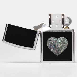 Sparkly colorful silver mosaic Heart on Black Zippo Lighter