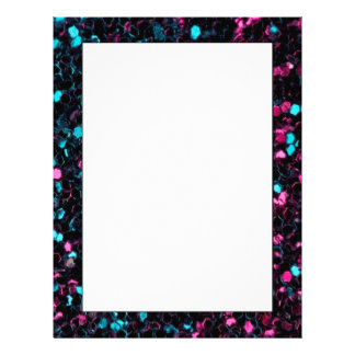 Sparkly colourful pink and blue mosaic letterhead