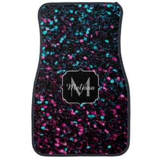 Sparkly colourful pink and blue mosaic Monogram Car Floor Mat