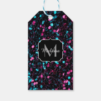 Sparkly colourful pink and blue mosaic Monogram Pack Of Gift Tags