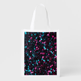 Sparkly colourful pink and blue mosaic reusable grocery bag