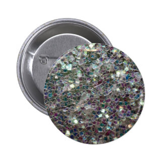 Sparkly colourful silver mosaic 2 inch round button