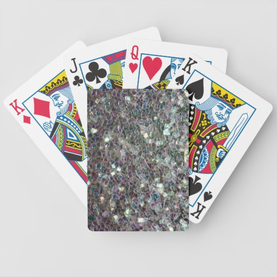 Sparkly colourful silver mosaic bicycle playing cards