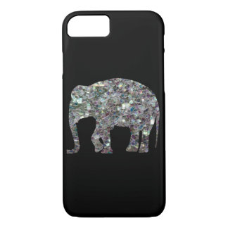 Sparkly colourful silver mosaic Elephant iPhone 7 iPhone 8/7 Case