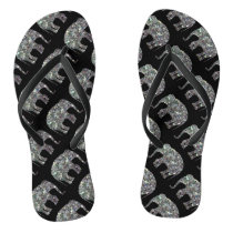 Sparkly colourful silver mosaic Elephant pattern Flip Flops