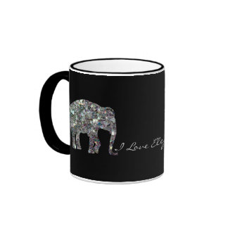 Sparkly colourful silver mosaic Elephants Ringer Coffee Mug