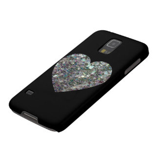 Sparkly colourful silver mosaic Heart Case For Galaxy S5