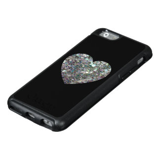 Sparkly colourful silver mosaic Heart on Black OtterBox iPhone 6/6s Case