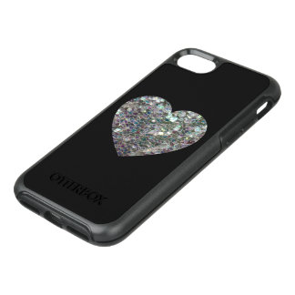 Sparkly colourful silver mosaic Heart on Black OtterBox Symmetry iPhone 7 Case