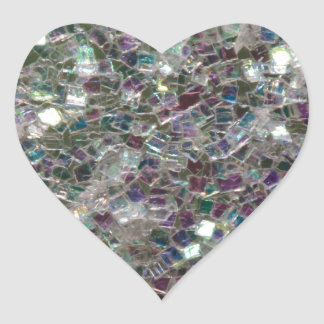 Sparkly colourful silver mosaic heart sticker