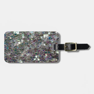 Sparkly colourful silver mosaic luggage tag