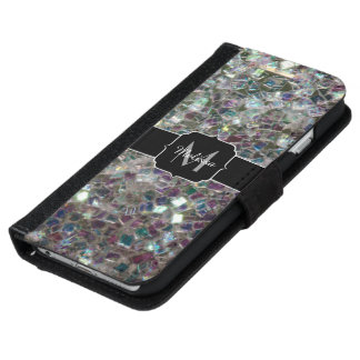 Sparkly colourful silver mosaic Monogram iPhone 6/6s Wallet Case