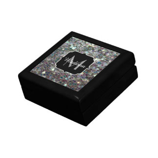 Sparkly colourful silver mosaic Monogram Jewelry Box