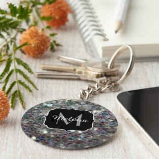 Sparkly colourful silver mosaic Monogram Keychain