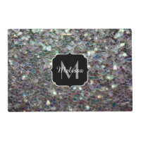 Sparkly colourful silver mosaic Monogram Placemat