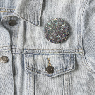 Sparkly colourful silver mosaic pinback button