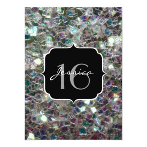 Sparkly colourful silver mosaic  5.5x7.5 Paper Invitation Card
