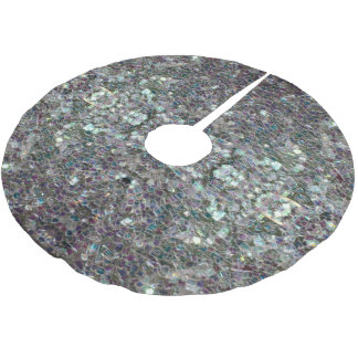 Sparkly colourful silver mosaic v2 brushed polyester tree skirt