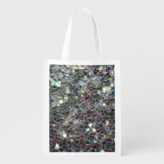 Sparkly colourful silver mosaic grocery bags