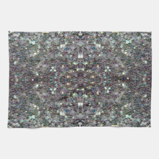 Sparkly colourful silver v4 - Mandala Hand Towel