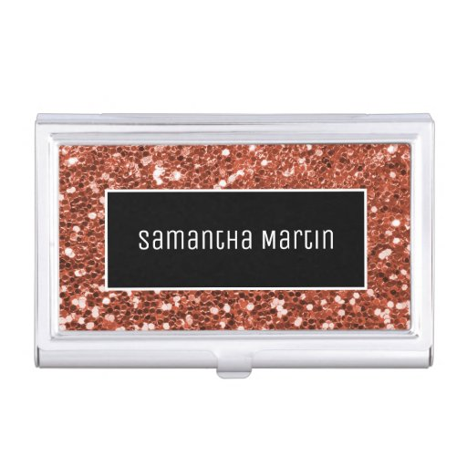 Sparkly Copper Sequin Glitter Black and White Business Card Case