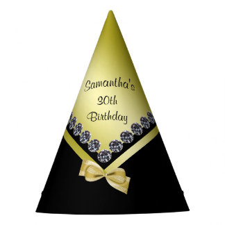 Sparkly Diamonds & Gold Bow 30th Birthday Party Hat