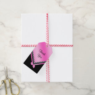Sparkly Diamonds Pink Bow 50th Birthday Gift Tags