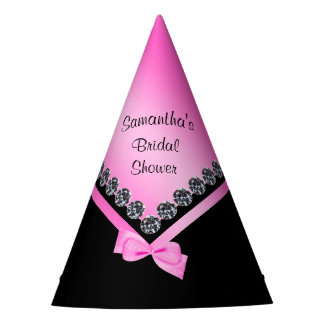 Sparkly Diamonds & Pink Bow Bridal Shower Party Hat