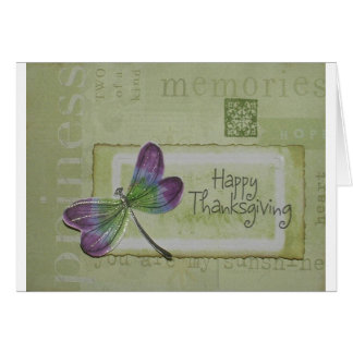 Sparkly Dragonfly Thanksgiving Card