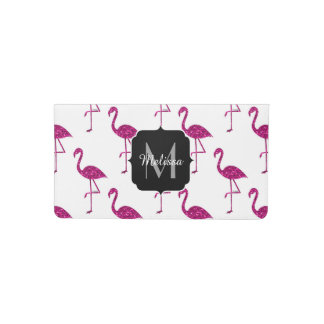 Sparkly flamingo Pink sparkles pattern Monogram Checkbook Cover