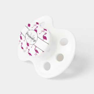 Sparkly flamingo Pink sparkles pattern Monogram Pacifier