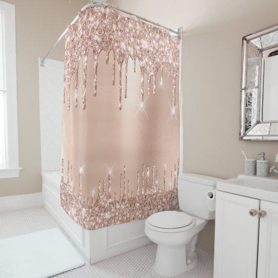 Sparkly Glitter Drips Pink Rose Gold Blush Glam Shower Curtain
