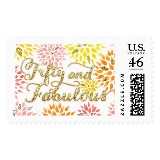 Sparkly Glitter Floral Fifty Fabulous Birthday Postage Stamp