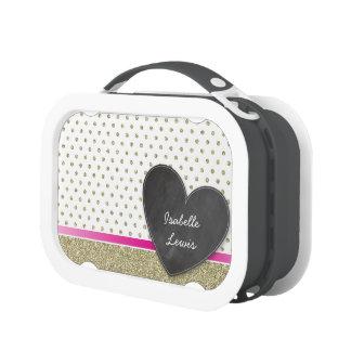 SPARKLY glitter gold polka dot chalkboard heart Lunch Box