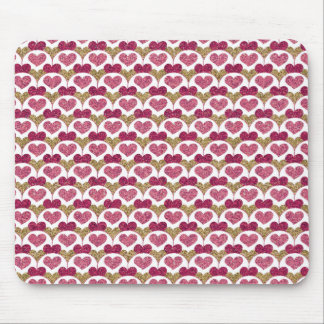 Sparkly Glitter Hearts Mouse Pad