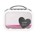 SPARKLY glitter pink polka dot chalkboard heart Lunchboxes