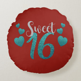Sparkly Glittery Teal and Red Sweet Sixteen Round Pillow