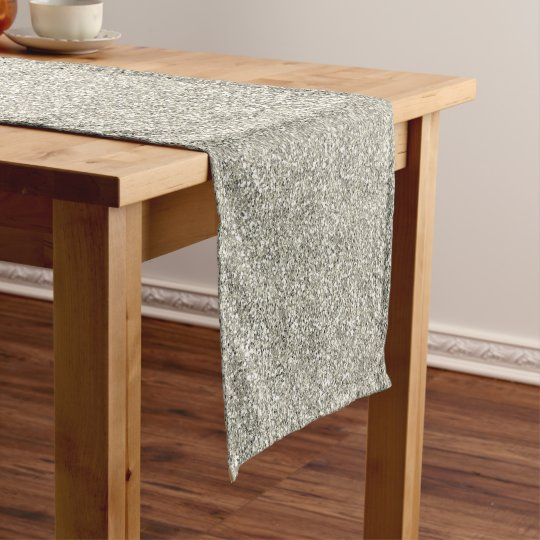 Sparkly Glitzy Silver Glitter Short Table Runner
