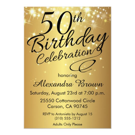 Sparkly Gold 50th Birthday Invitations