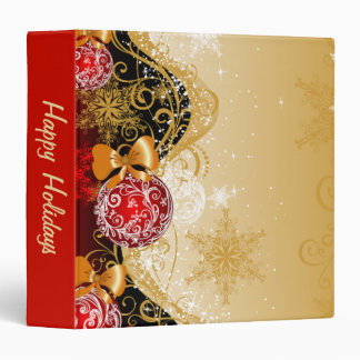 Sparkly Gold and Red Ornament 3 Ring Binder