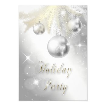 Sparkly Gold and Silver Ornament Holiday Party Card