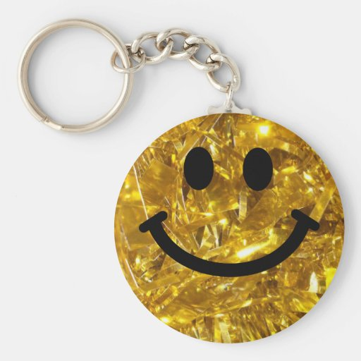 Sparkly Gold Bling Smiley Key Chain