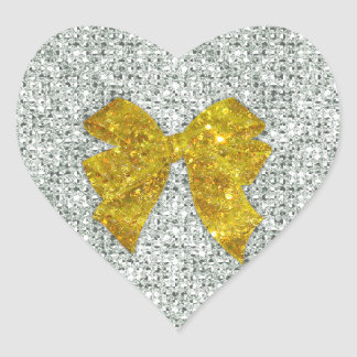 Sparkly Gold Bow on Silver Sequins Heart Sticker