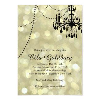 Sparkly Gold Chandelier Bat Mitzvah Invitation