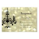 Sparkly Gold Chandelier RSVP Card