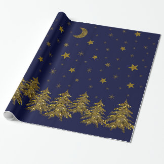 Sparkly gold Christmas tree, moon, stars on blue Wrapping Paper