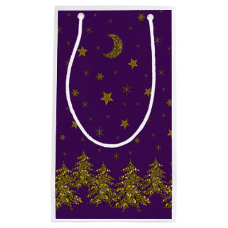 Sparkly gold Christmas tree, moon, stars on purple Small Gift Bag