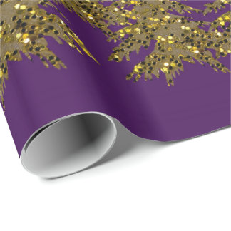 Sparkly gold Christmas tree, moon, stars on purple Wrapping Paper
