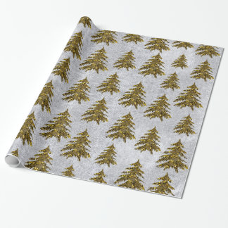 Sparkly gold Christmas tree on silver paper
